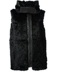 Helmut Lang Black 'Fontana' Fur Vest