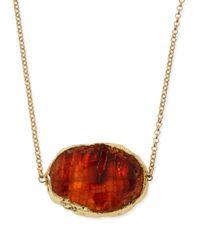 Panacea | Metallic Brown Agate Long Pendant Necklace | Lyst