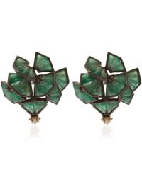 Nak Armstrong | Green Emerald And Natural Diamond Earrings | Lyst