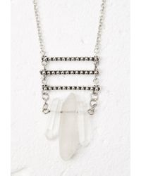 Forever 21 - Metallic Longline Faux Stone Necklace - Lyst