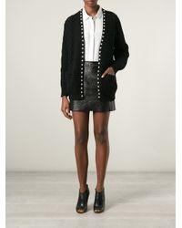 Saint Laurent Black Stud Trim Cable Knit Cardigan