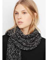 Vince - Black Speckled Cotton-blend Knit Scarf - Lyst