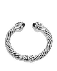 David Yurman Metallic Crossover Bracelet With Black Onyx & Diamonds