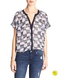 Banana Republic | Gray Factory Print Georgette Blouse | Lyst