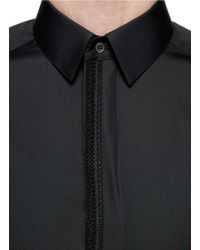 Dolce & Gabbana Black 'gold' Braid Trim Cotton Poplin Shirt for men
