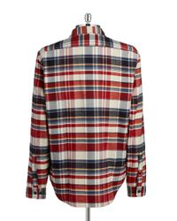 Lacoste | Red Plaid Sportshirt for Men | Lyst