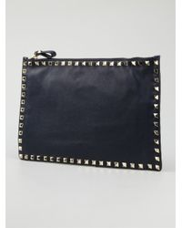 Valentino Blue Large Rockstud Pouch
