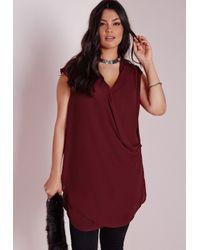 Missguided - Purple Plus Size Wrap Front Chiffon Top Burgundy - Lyst