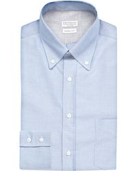 Brunello Cucinelli - Blue Oxford Regular-fit Cotton Shirt for Men - Lyst