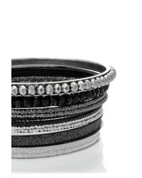 Oasis | Black Diamond Dust And Facet Bangle Pack | Lyst