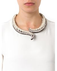 Shourouk - Metallic Piuma Faux-Pearl And Crystal Necklace - Lyst