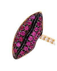 Delfina Delettrez | Purple Diamond, Pearl, Ruby & Gold Earring | Lyst