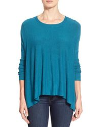 Eileen Fisher | Blue Scoop Neck Boxy Top | Lyst
