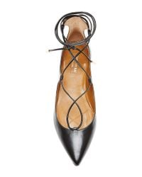Aquazzura - Black Christy Leather Pointed-toe Flats - Lyst
