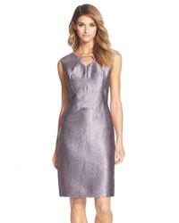Ellen Tracy | Purple 'Kenya' Beaded Metallic Jacquard Sheath Dress | Lyst