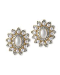 Kenneth Jay Lane - White Pearl And Crystal Clip Earring - Lyst