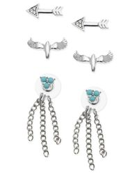 Guess | Metallic Silver-tone Stud Earring Trio Setur | Lyst