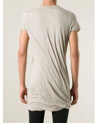 DRKSHDW by Rick Owens Natural Long Draped T-Shirt for men