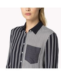 Tommy Hilfiger | Blue Cotton Viscose Striped Shirt | Lyst