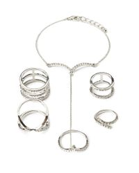 Forever 21 | Metallic Rhinestoned Hand Chain Set | Lyst