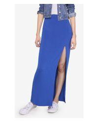 Express Blue Knit High Slit Maxi Skirt