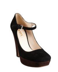 Prada | Black Colorblock Suede Platform Mary Jane Pumps | Lyst