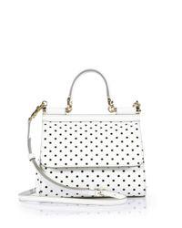 937b5a4ff750 Dolce   Gabbana. Women s White Sicily Small Polka-Dot Textured Leather ...