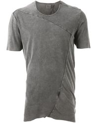 Lost & Found - Gray Panelled Raw-Seam T-Shirt for Men - Lyst