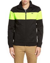 Lacoste | Black 'sport Chest Stripe' Full Zip Track Jacket for Men | Lyst
