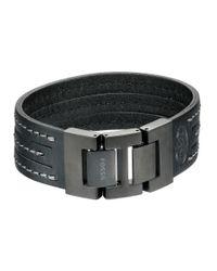 Fossil | Black Multi Stand Leather Bracelet | Lyst