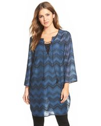 NIC+ZOE | Blue 'zigzag' Lace-up Tunic | Lyst