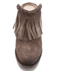 Freebird by Steven Brown Lucy Suede Fringe Mules - Grey