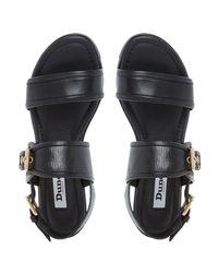 Dune Black Locker Cleated Sole Sandals