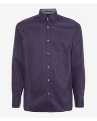 Ted Baker Brown Huckfin Tonal Long Sleeve Shirt for men