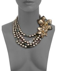 Alexis Bittar | Metallic Imperial 8Mm-12Mm Grey Round Shell Pearl, Lucite & Crystal Flower Torsade Necklace | Lyst