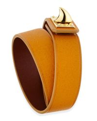 Givenchy - Orange Calfskin Leather Wrap Bracelet - Lyst