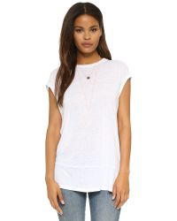 Free People - White Cotton Linen Solid Biker Tee - Lyst