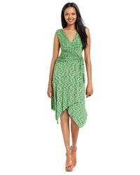 Spense - Green Petite Asymmetrical-hem Printed Wrap Dress - Lyst