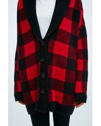 BDG Buffalo Check Shawl Cardigan In Red And Black