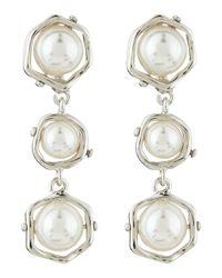 Majorica | White Triple-tier Faux-pearl Drop Earrings | Lyst