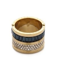 Michael Kors | Black Pave & Baguette Barrel Ring - Gold/Clear/Montana | Lyst