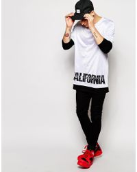 ASOS White Super Longline Long Sleeve T-shirt With Double Layer And California Print for men