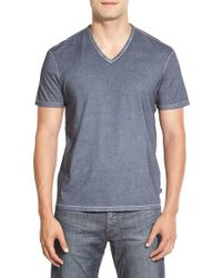 John Varvatos | Blue V-Neck Cotton T-Shirt for Men | Lyst