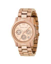 Michael Kors Pink Mk5128 Women's Runway Chronograph Bracelet Strap Watch