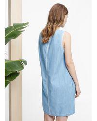 Violeta by Mango Blue Ethnic Embroidery Dress