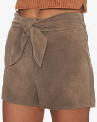 Exclusive For Intermix - Natural Tie Waist Goat Suede Shorts - Lyst