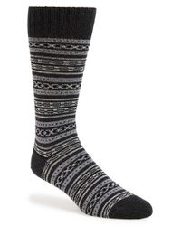 Mr Gray | Black Textile 'blanket Border' Knit Socks for Men | Lyst