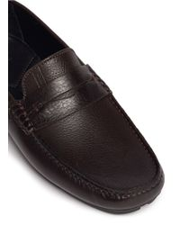 Armani Brown Leather Penny Loafers for men