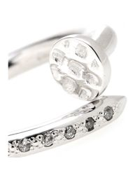 Roberto Marroni | 18kt Rhodium-plated White Gold Big Nail Ring With Diamonds | Lyst
