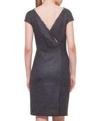 Akris Gray Chain-trim V-back Plaid Dress